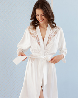 Ivory Satin Robe With Lace details Epifania