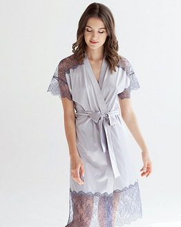 Pastel purple Satin Robe Epifania