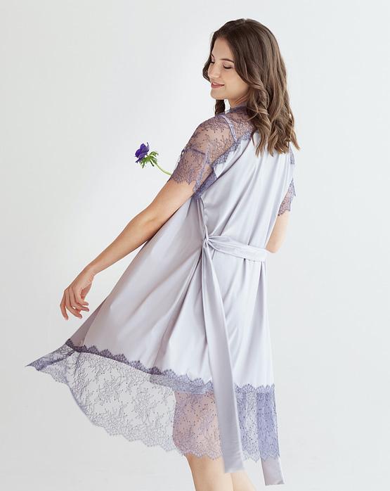 Pastel purple Satin Robe Epifania
