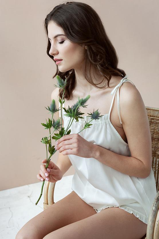 Ivory cotton sateen lounge set Epifania