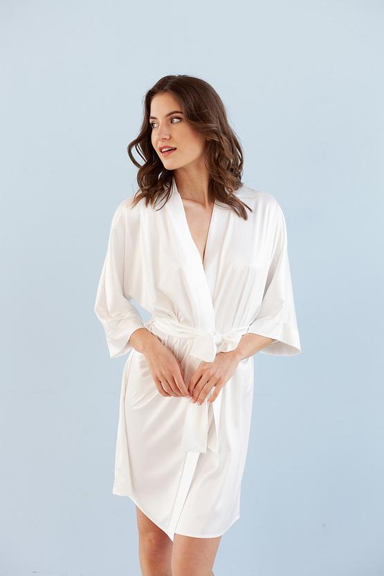 ivory satin kimono robe