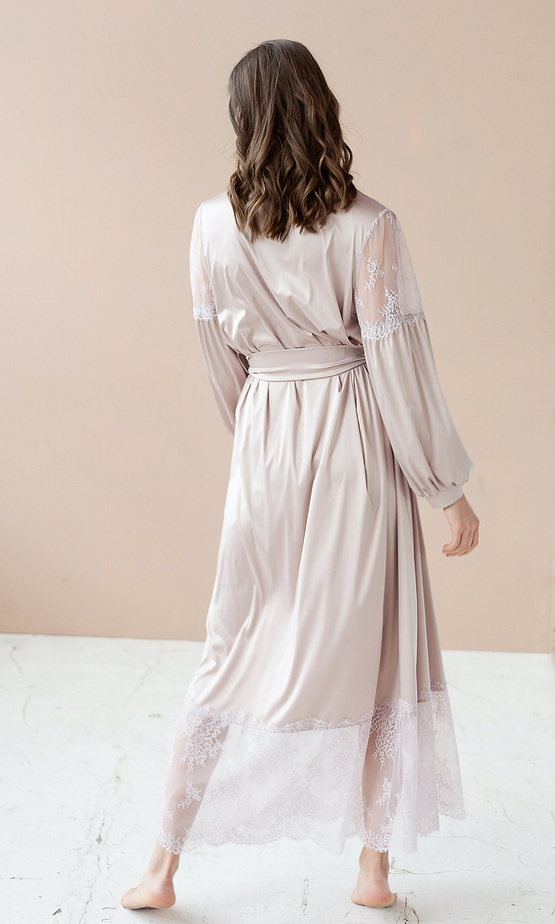 Luxurious Pale Rose Maxi Robe